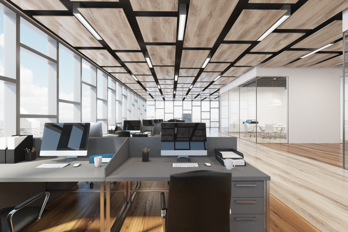 Wooden floor open office interior with panoramic windows and a rectangular ceiling pattern. Close up. 3d rendering mock up